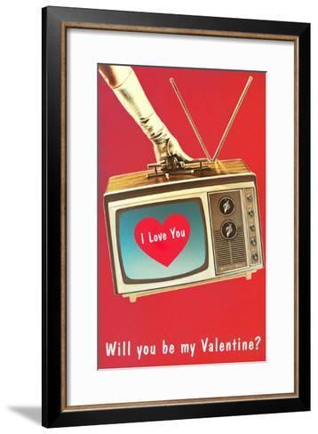 Will You Be My Valentine? Heart on TV--Framed Art Print