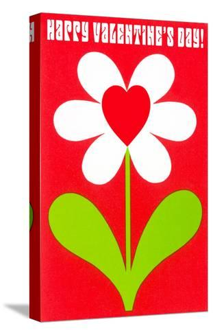 Happy Valentines Day, Simple Flower with Heart--Stretched Canvas Print