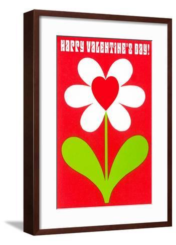Happy Valentines Day, Simple Flower with Heart--Framed Art Print
