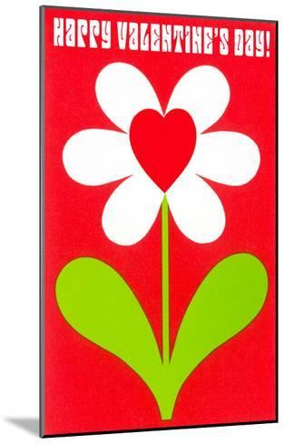 Happy Valentines Day, Simple Flower with Heart--Mounted Art Print