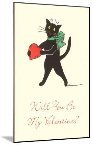 Black Cat with Heart--Mounted Art Print