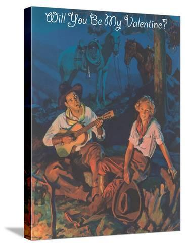 Cowboy Valentine, around the Campfire--Stretched Canvas Print