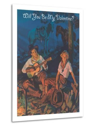 Cowboy Valentine, around the Campfire--Metal Print