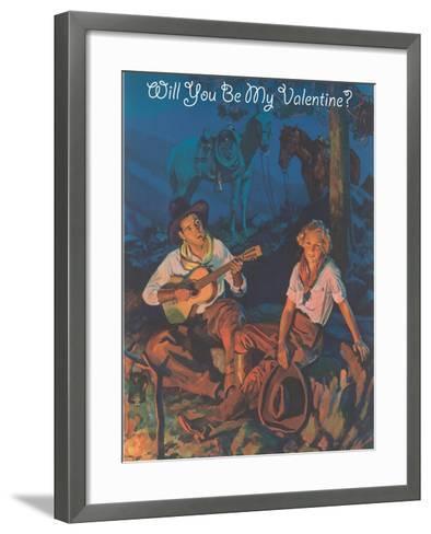 Cowboy Valentine, around the Campfire--Framed Art Print