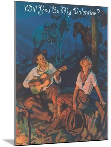 Cowboy Valentine, around the Campfire--Mounted Art Print
