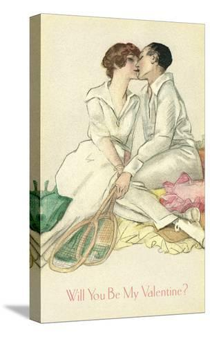 Tennis Couple Kissing, Valentine's Day--Stretched Canvas Print