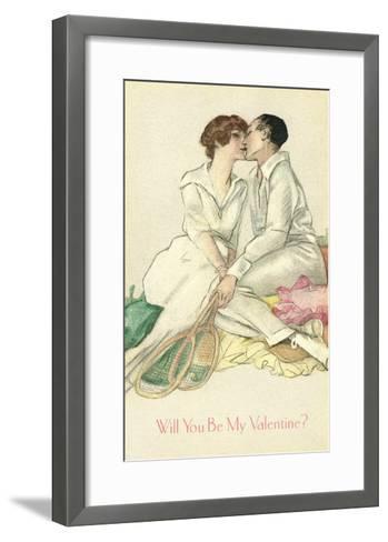 Tennis Couple Kissing, Valentine's Day--Framed Art Print