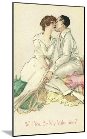 Tennis Couple Kissing, Valentine's Day--Mounted Art Print