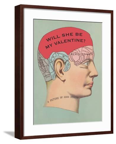 Will She Be My Valentine, Phrenology--Framed Art Print