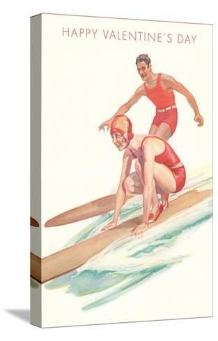 Happy Valentine's Day, Surfing Couple--Stretched Canvas Print
