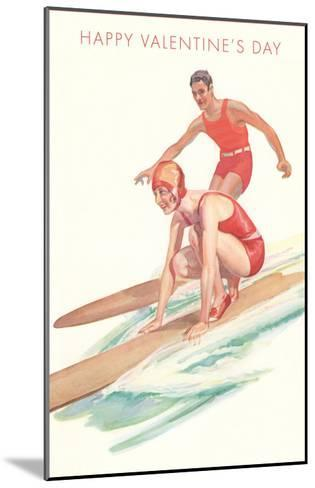 Happy Valentine's Day, Surfing Couple--Mounted Art Print