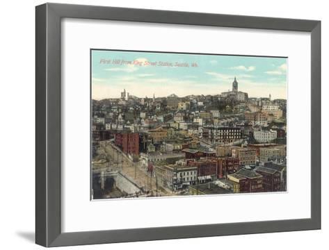First Hill, King Street Station, Seattle, Washington--Framed Art Print