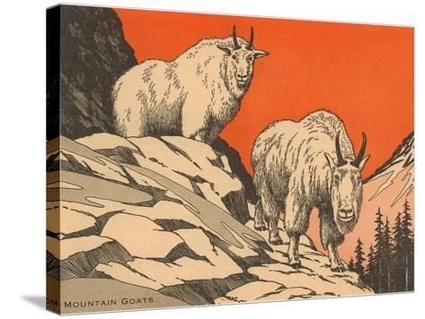 Woodcut of Mountain Goats--Stretched Canvas Print