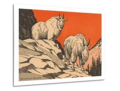 Woodcut of Mountain Goats--Metal Print