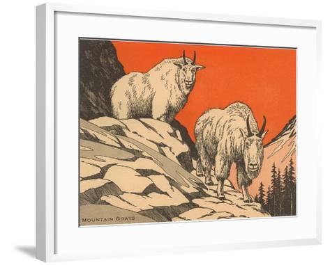 Woodcut of Mountain Goats--Framed Art Print