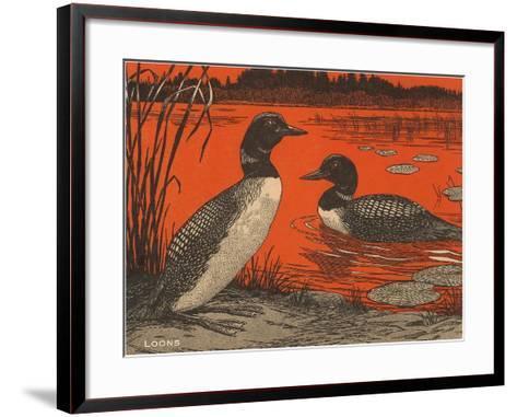 Woodcut of Loons--Framed Art Print