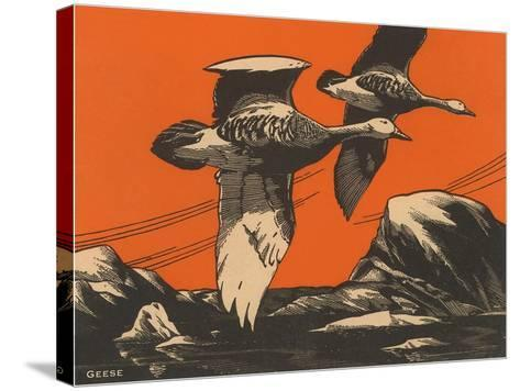 Woodcut of Geese--Stretched Canvas Print