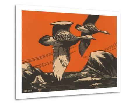 Woodcut of Geese--Metal Print