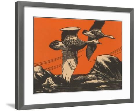 Woodcut of Geese--Framed Art Print