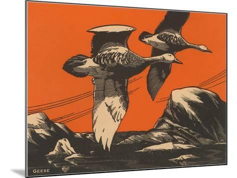 Woodcut of Geese--Mounted Art Print