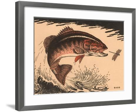 Woodcut of Bass--Framed Art Print