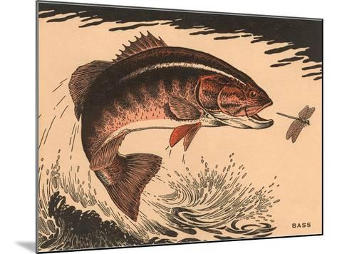 Woodcut of Bass--Mounted Art Print