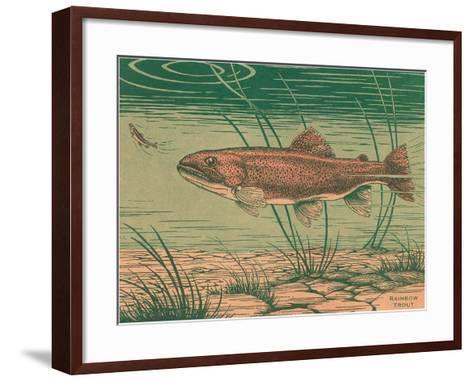 Woodcut of Rainbow Trout--Framed Art Print