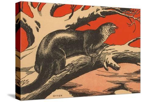 Woodcut of Otter--Stretched Canvas Print