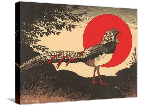 Woodcut of Pheasant--Stretched Canvas Print