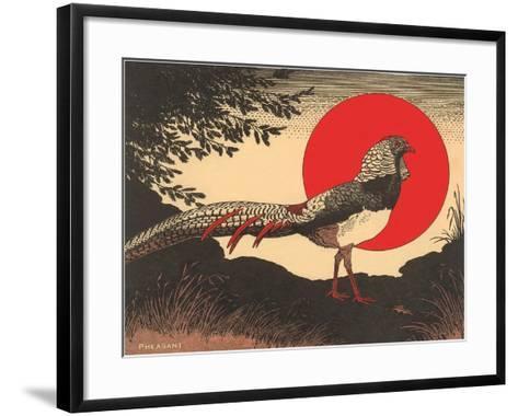 Woodcut of Pheasant--Framed Art Print