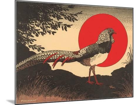 Woodcut of Pheasant--Mounted Art Print