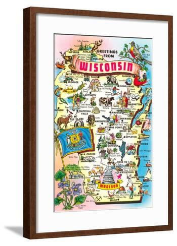 Map of Wisconsin--Framed Art Print
