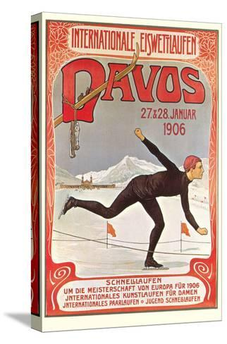Swiss Speed Skating Poster, Davos--Stretched Canvas Print