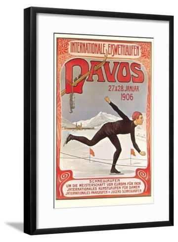 Swiss Speed Skating Poster, Davos--Framed Art Print