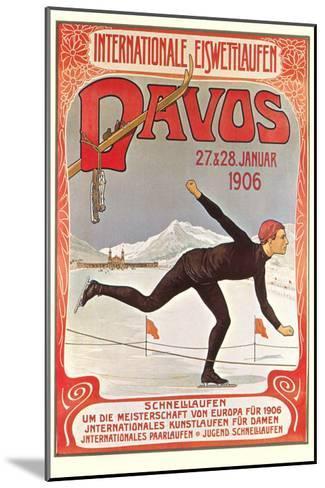 Swiss Speed Skating Poster, Davos--Mounted Art Print