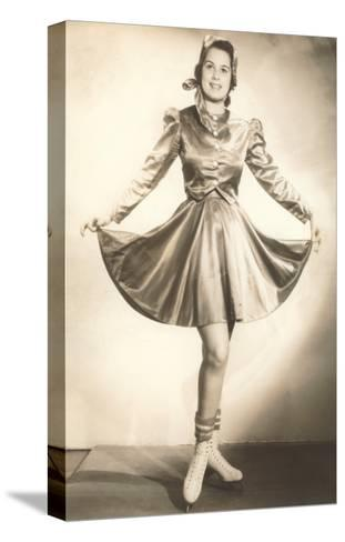 Lady Ice Skater in Tasteful Skirt--Stretched Canvas Print
