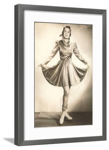 Lady Ice Skater in Tasteful Skirt--Framed Art Print