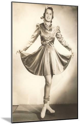 Lady Ice Skater in Tasteful Skirt--Mounted Art Print