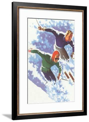 Couple Racing through Powder on Skis--Framed Art Print