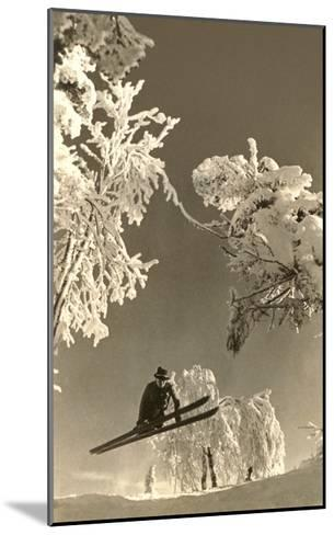 Airborne Skier Amid Frost-Laden Trees--Mounted Art Print
