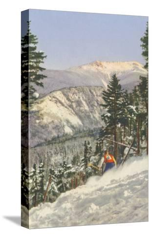 Skier in Rough Terrain--Stretched Canvas Print