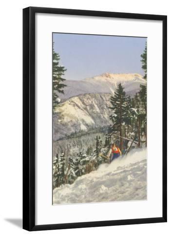 Skier in Rough Terrain--Framed Art Print