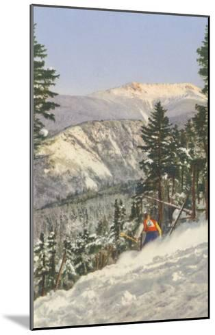 Skier in Rough Terrain--Mounted Art Print