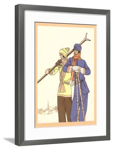 Two Fashionable Skiers--Framed Art Print