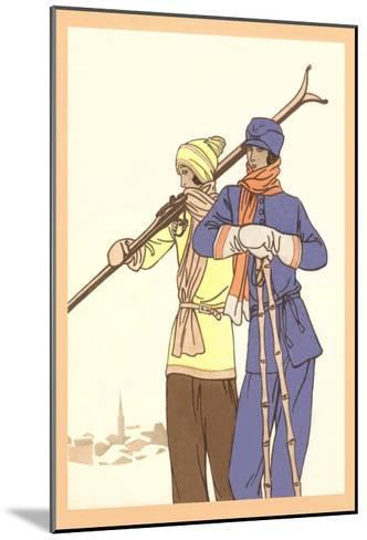 Two Fashionable Skiers--Mounted Art Print