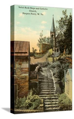 Rock Steps, Catholic Church, Harper's Ferry, West Virginia--Stretched Canvas Print