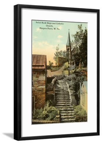 Rock Steps, Catholic Church, Harper's Ferry, West Virginia--Framed Art Print