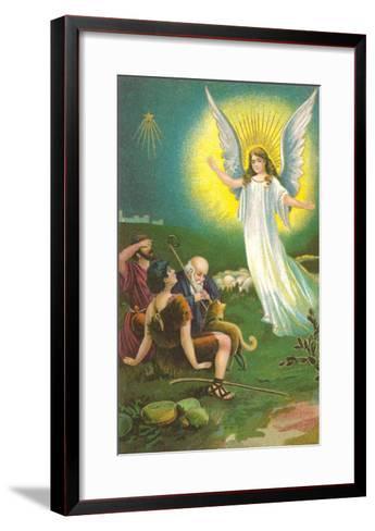 Angel Greeting Shepherds--Framed Art Print