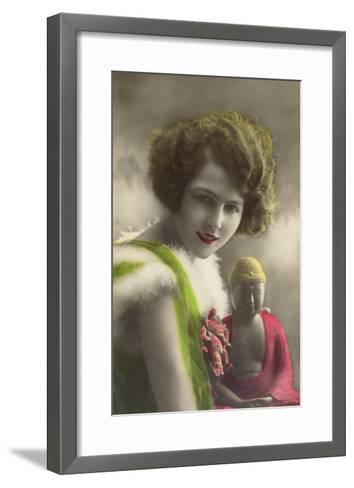 French Woman with Buddha Statue--Framed Art Print