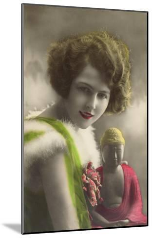 French Woman with Buddha Statue--Mounted Art Print